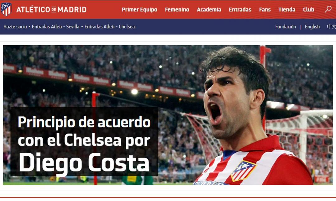 Diego Costa all'Atletico Madrid, ufficiale a breve?