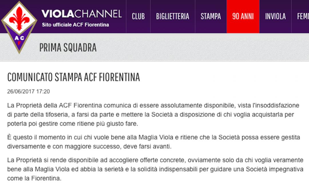 UFFICIALE: la Fiorentina è in vendita, il comunicato della società