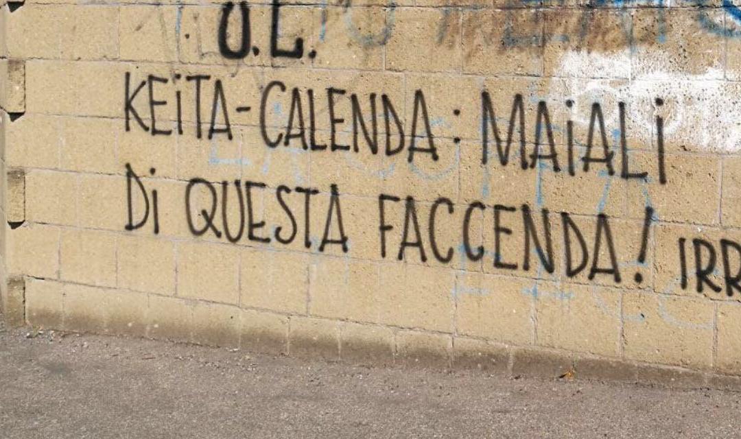 Lazio, scritte contro Keita e Calenda a Formello: 'Fuori dai c...i'