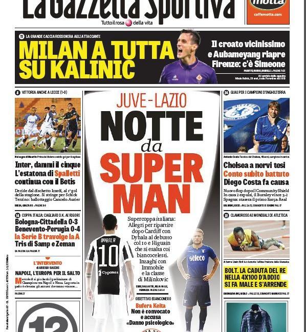 Juve e Lazio, tocca a voi! Poi Keita... Le prime pagine dei giornali
