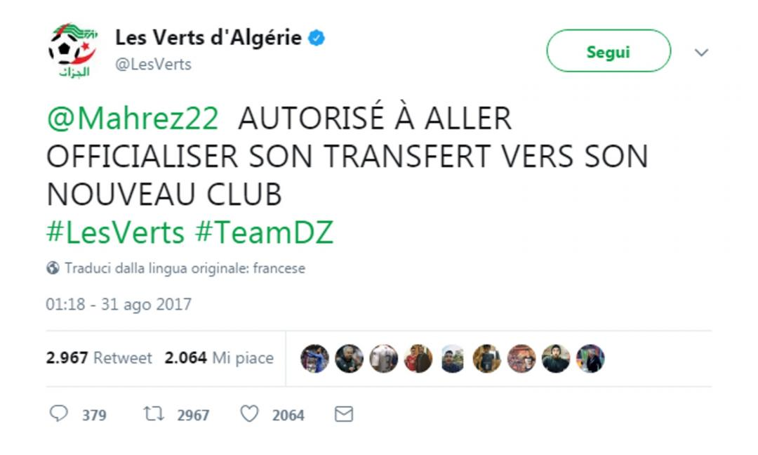 Mahrez lascia il ritiro dell'Algeria: va a firmare con il suo nuovo club