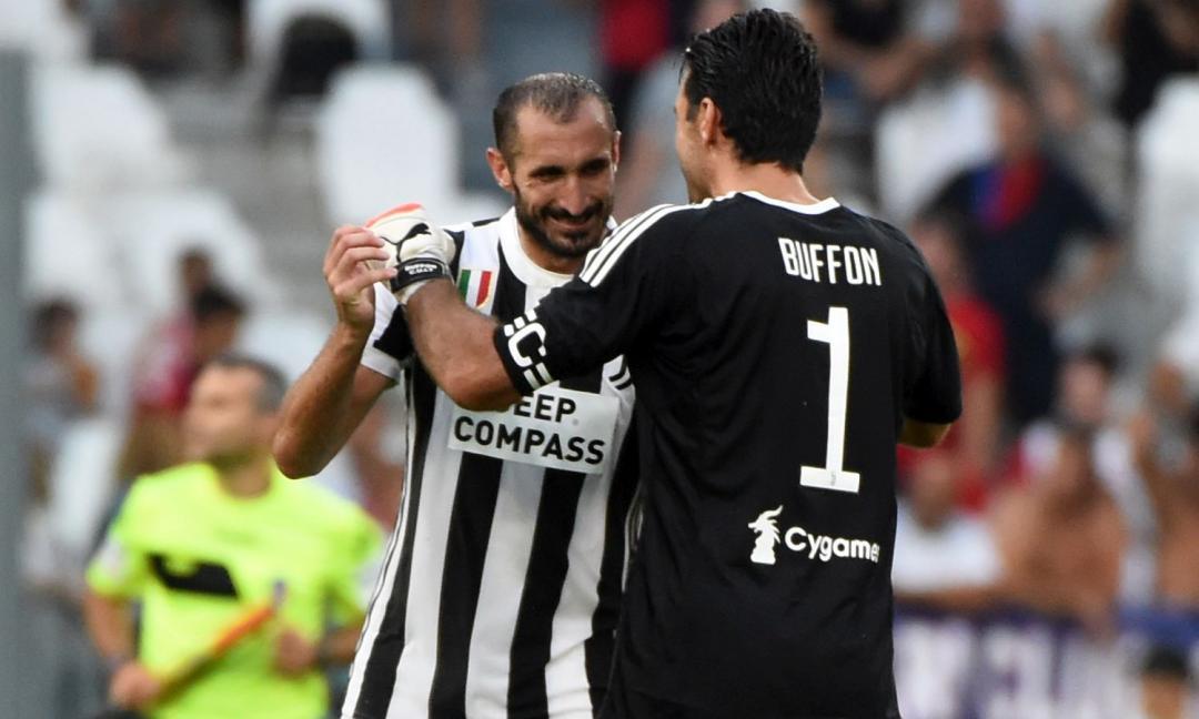 Chiellini e la dedica a Buffon: 'Insieme dopo 997 giorni, che emozione'