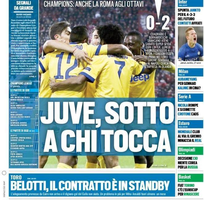 'Juve, sotto a chi tocca': le prime pagine di oggi