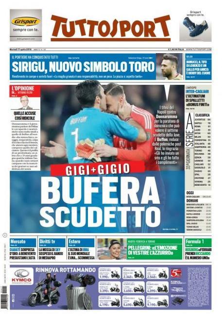 'Juve-Napoli? Ecco l'arbitro', poi Gigi e Gigio: le prime dei giornali