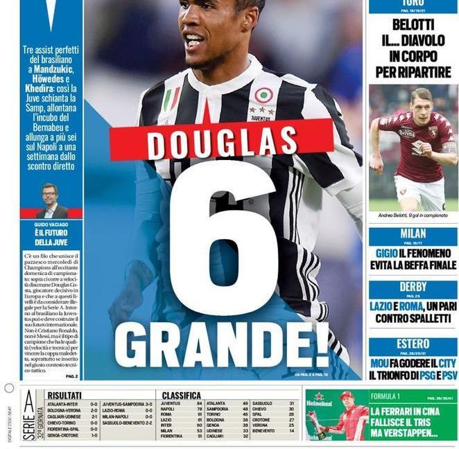 'Douglas 6 grande!' e la Juve vola: le prime pagine dei quotidiani