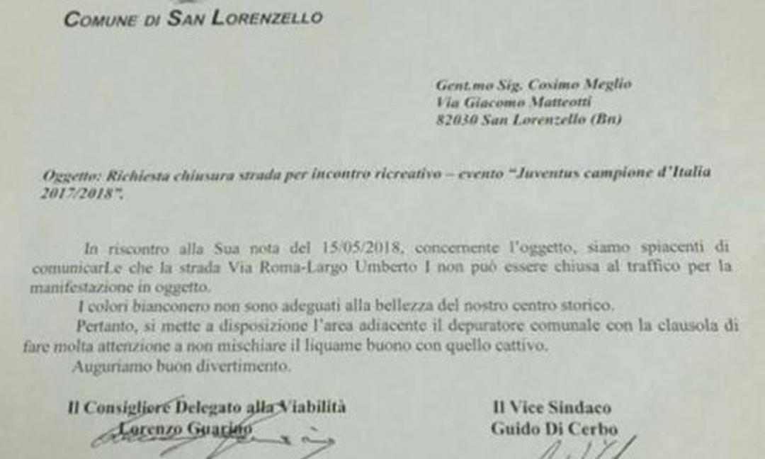 Sindaco San Lorenzello choc: 'Festa Juve in centro? Negata, è liquame' FOTO