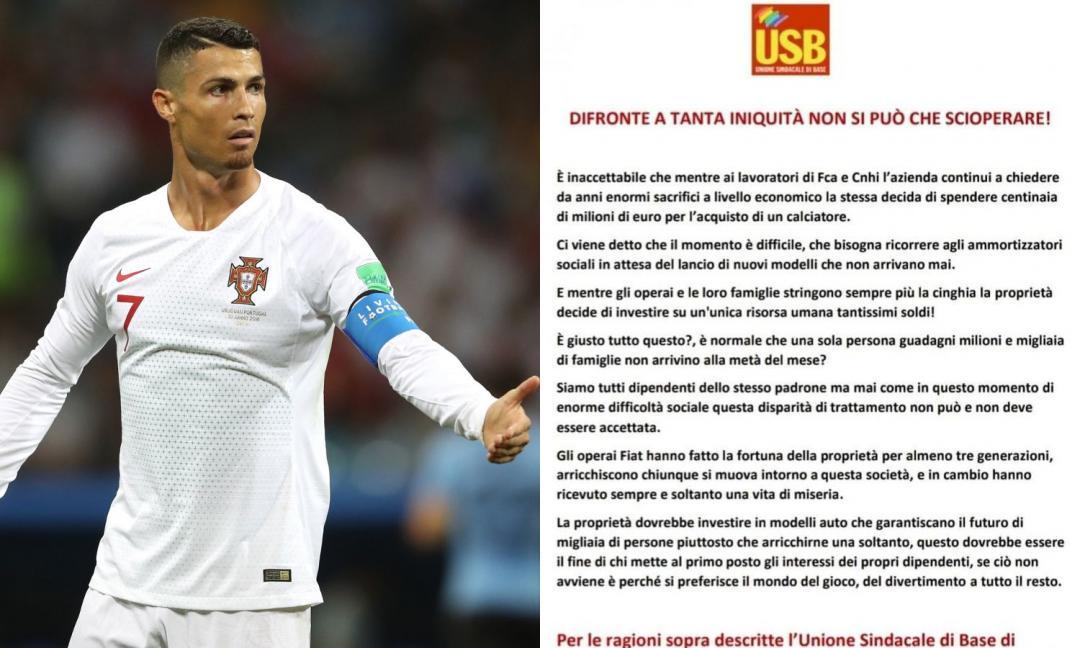 Sindacati contro lo sciopero per Ronaldo: 'Vicenda estranea ai lavoratori'