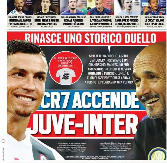 'Rinasce Juve-Inter' con 'Luciano Ronaldo': le prime pagine dei quotidiani