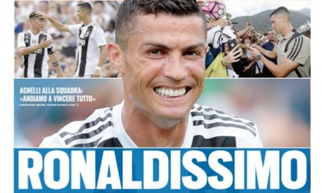 'Ronaldissimo', a Villar Perosa c'è un 'Alien': le prime pagine di oggi