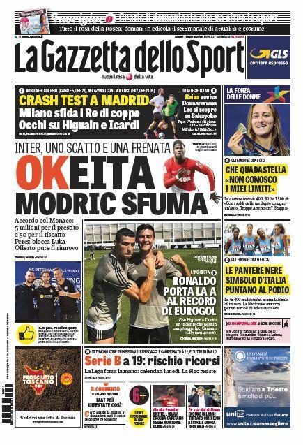'Modric sfuma'! 'Eurogol Ronaldo': le prime pagine di oggi