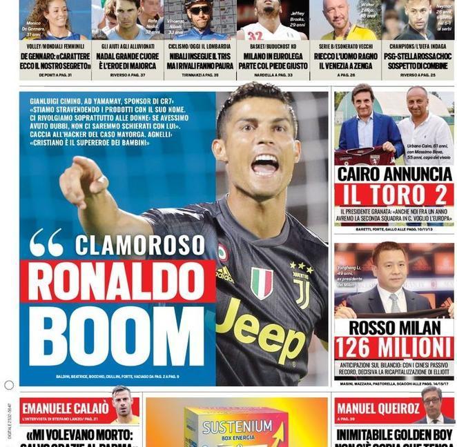 Ronaldo, è caccia ai testimoni: le prime dei giornali