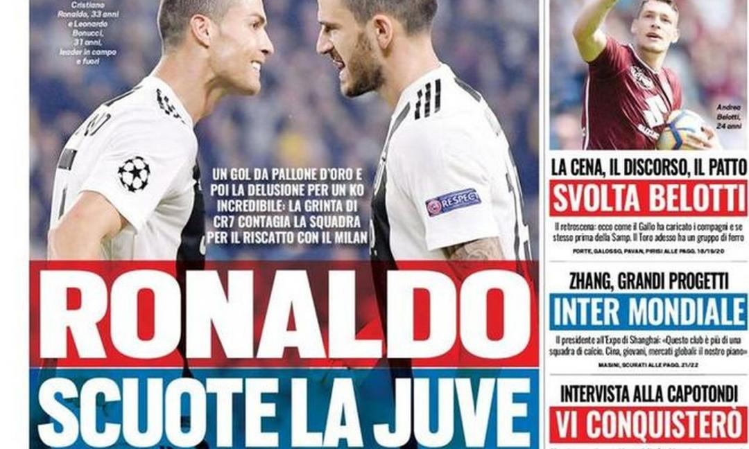 'Ronaldo scuote la Juve', 'Mourinho divide': le prime pagine dei quotidiani