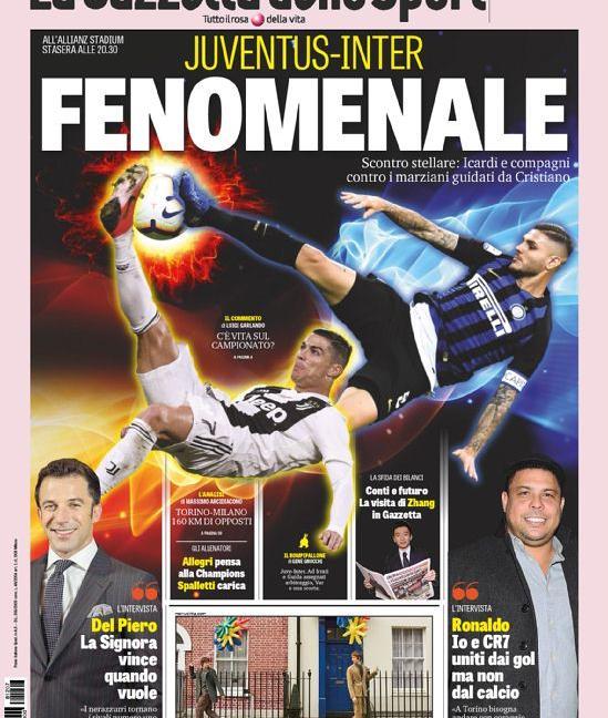 'Juve-Inter, nel 2019 rivoluzione': le prime pagine di oggi