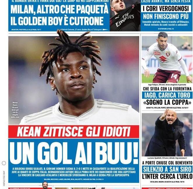 'Juve, o noi o nessuno'! 'Kean, un gol ai buu': le prime pagine di oggi