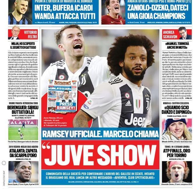 'Juve show: Ramsey ufficiale, Marcelo chiama'. Le prime pagine di oggi