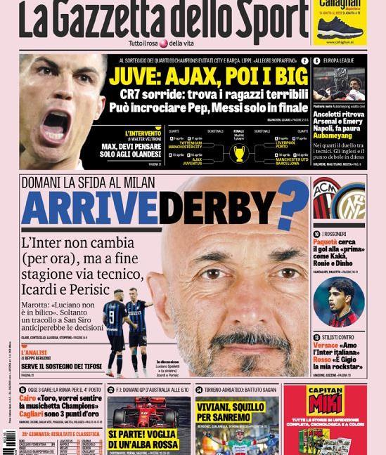 Ronaldo-Messi solo in finale, de Ligt 'chiama' la Juve: le prime dei giornali