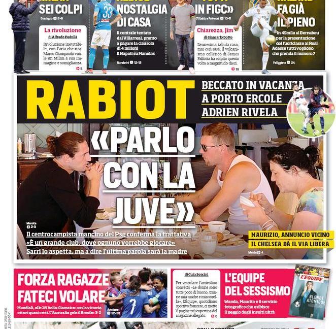 Rabiot, ma non solo: le prime pagine dei quotidiani