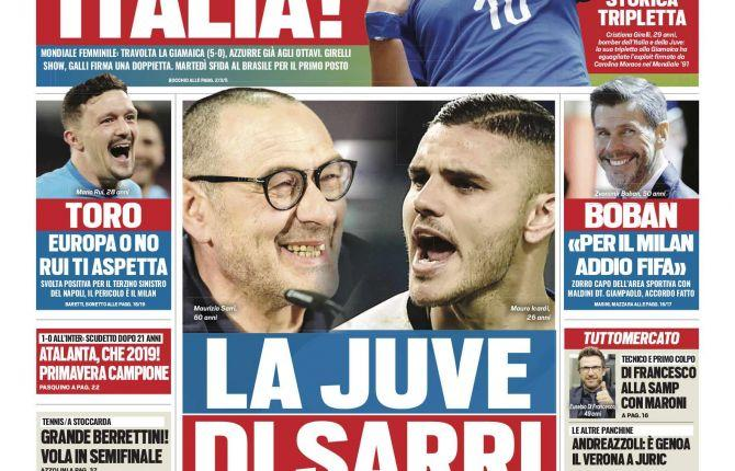 'La Juve di Sarri' ha Icardi: le prime pagine