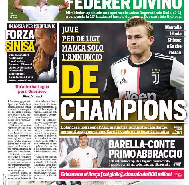 'De Ligt-Juve, manca solo l'annuncio': le prime pagine