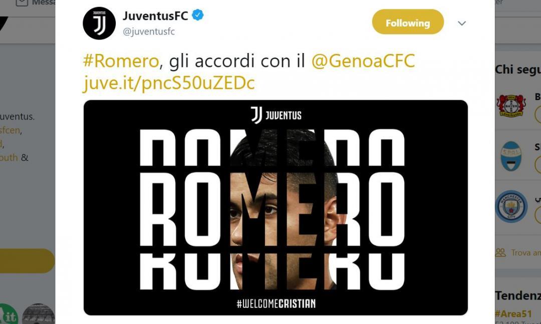 UFFICIALE: Romero al Genoa, gli accordi con la Juve