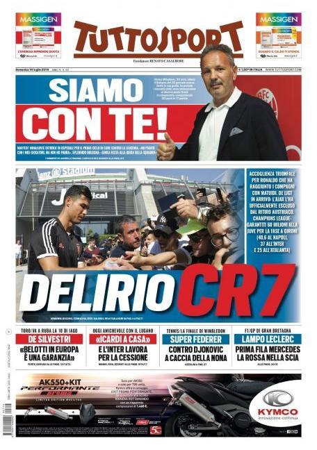 'De Ligt può arrivare in giornata' e 'Delirio CR7': le prime pagine