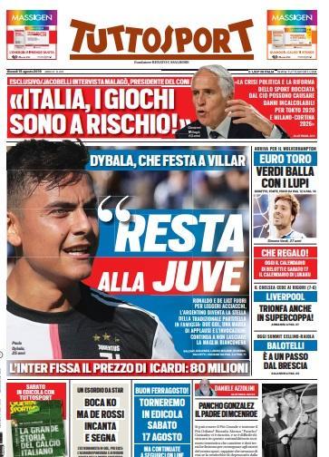 'Resta alla Juve': le prime pagine dei quotidiani sportivi