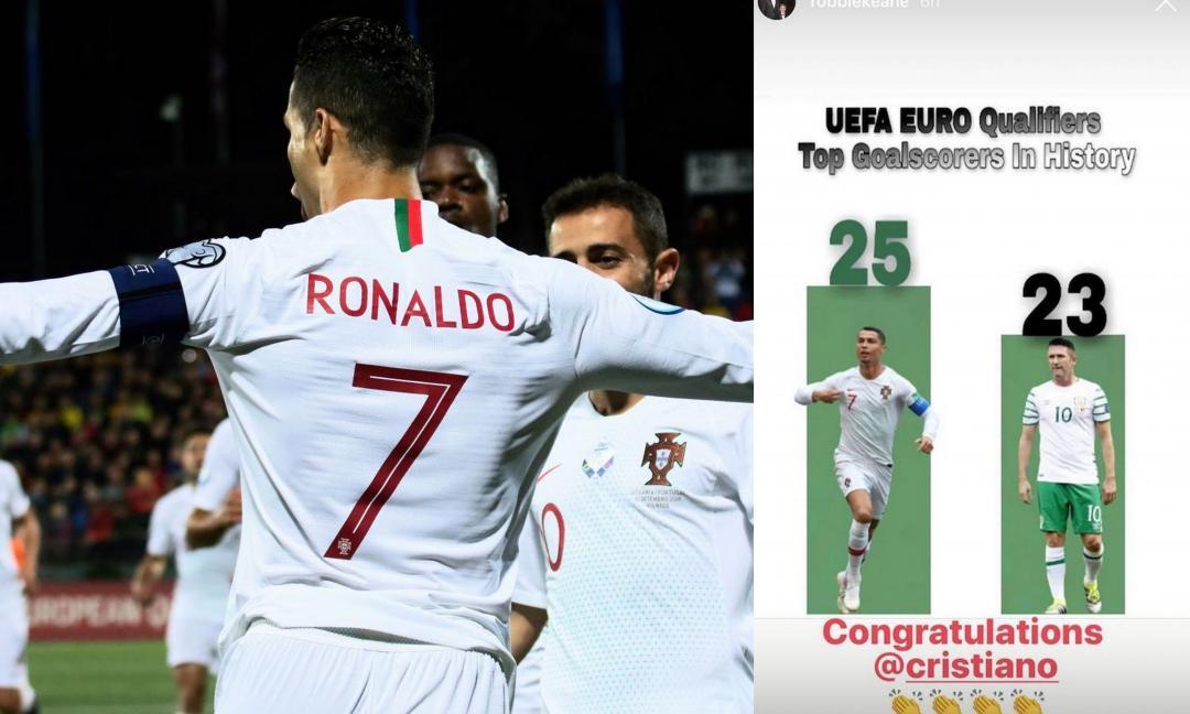 Ronaldo lo supera e gli sfila il record, Keane si inchina: 'Congratulazioni!'