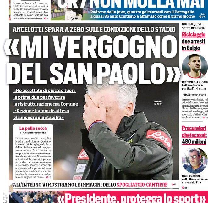 'Mi vergogno del San Paolo' e 'Super Ronaldo': ecco le prime dei quotidiani