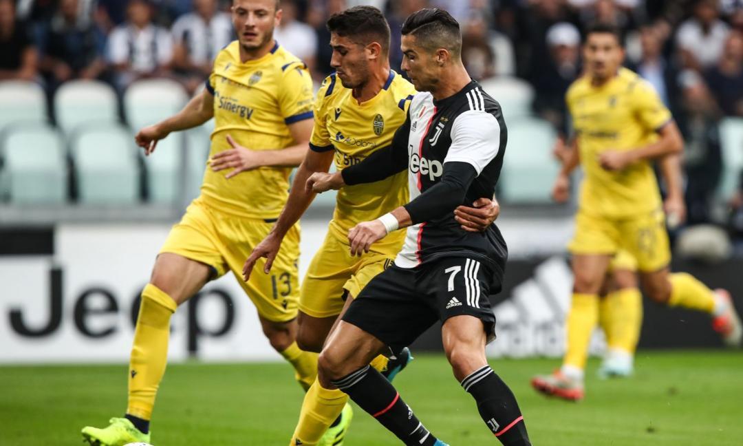 La Juve soffre ma vince: 2-1 col Verona, decisivi i gol di Ramsey e Ronaldo