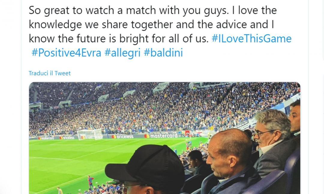 Allegri con Evra e Baldini a vedere... il Tottenham! L'indizio di mercato