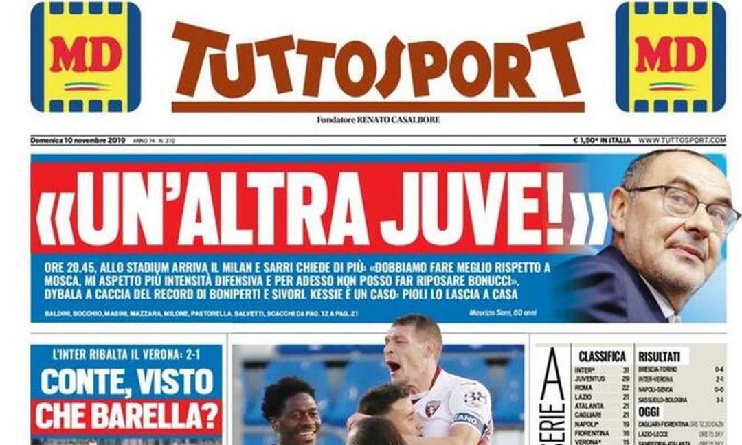 'Juve-Milan non è facile', 'Un'altra Juve': le prime pagine dei quotidiani