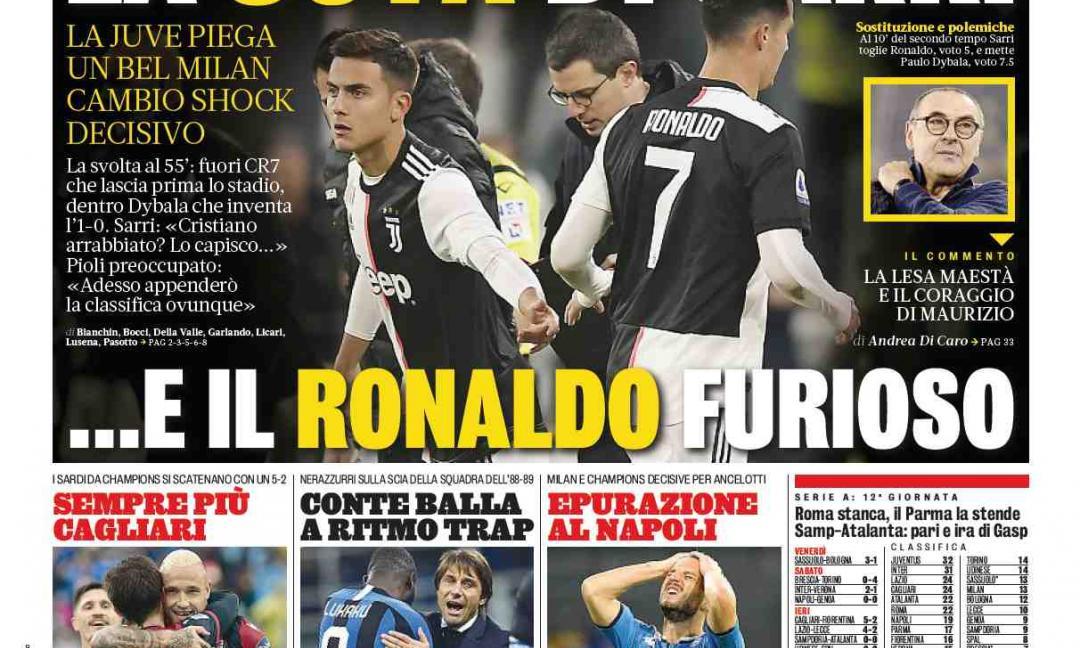 'La Joya di Sarri', 'Ronaldo furioso': le prime pagine dei quotidiani