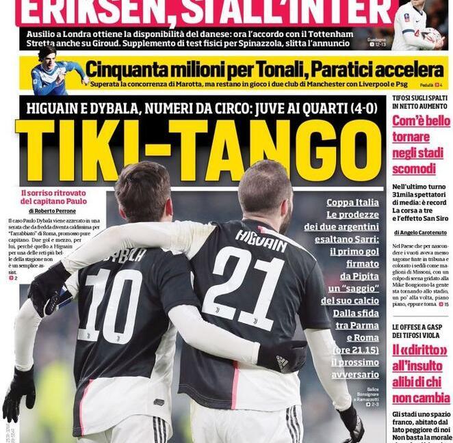 'Tiki-tango' e 'Playstation Juve': le prime pagine