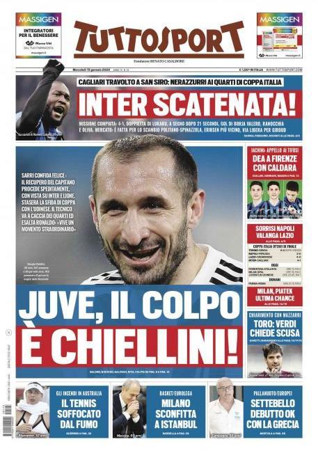 'Juve, c'è l'Udinese' e 'Il colpo è Chiellini': le prime pagine