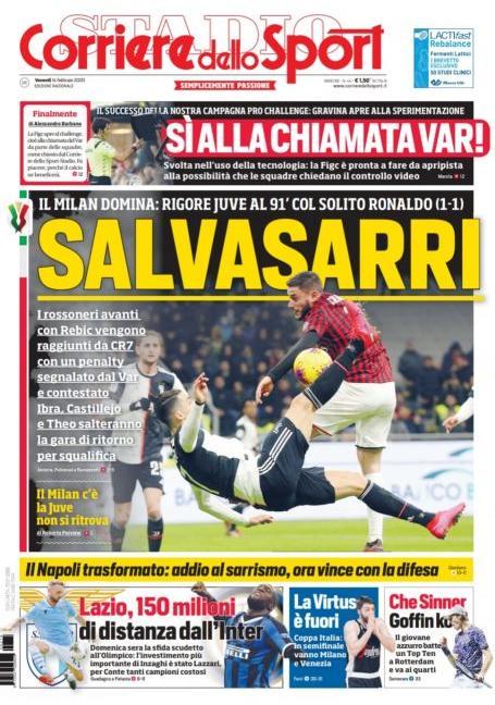 'C'è solo CR7' e 'SalvaSarri': le prime pagine