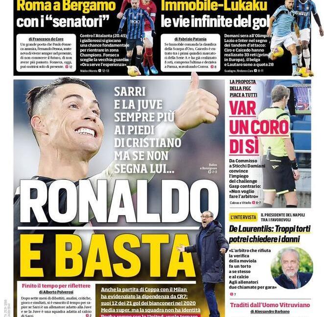 'Ciclone Pep' e 'Pogba? Si può', poi 'Ronaldo e basta': le prime pagine