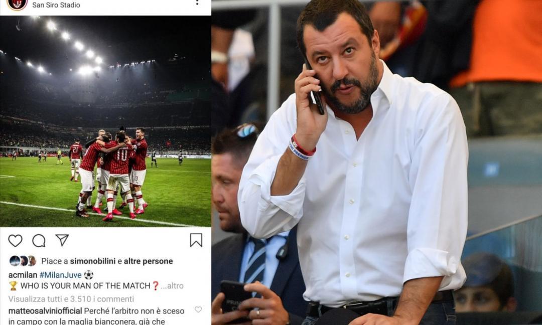 Milan-Juve, Salvini: 'L'arbitro poteva mettersi la maglia bianconera' FOTO