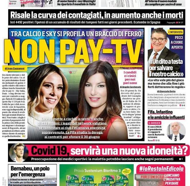 'Non Pay Tv' e 'Scudetto a ogni costo': le prime pagine dei giornali