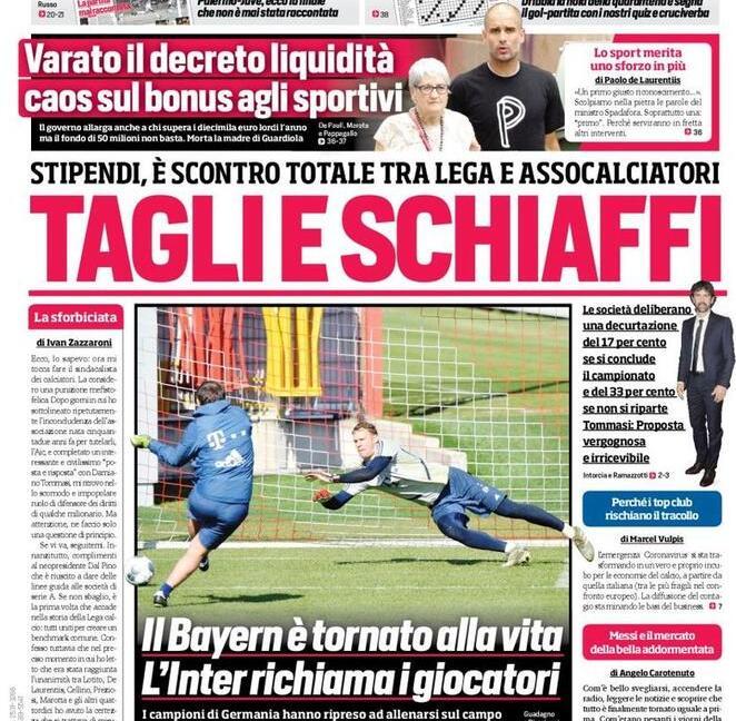 'Salviamo il calcio', 'Icardi e Psg, avanti insieme': le prime pagine dei giornali