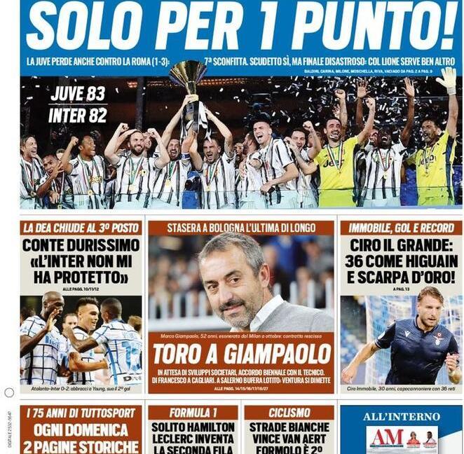 'Juve, festa amara', 'Solo per 1 punto': le prime pagine dei giornali