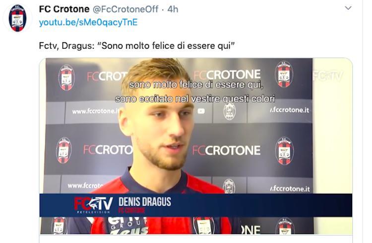 Crotone, UFFICIALE: positivo Dragus, stasera il match con la Juve