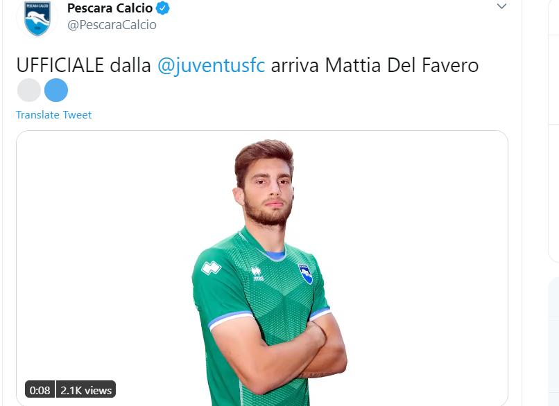 Juventus, UFFICIALE: Del Favero al Pescara