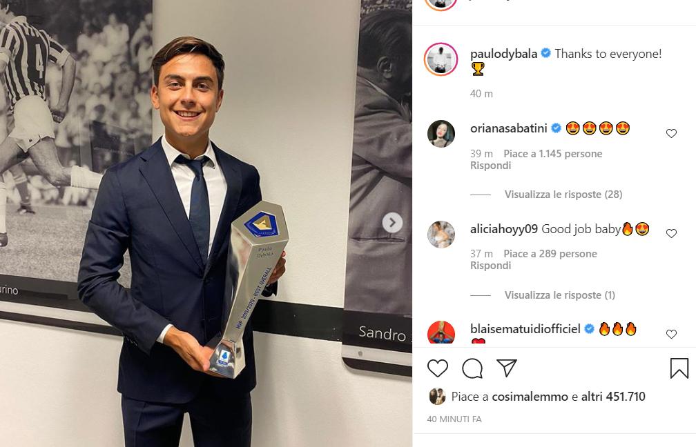 McKennie 'eccitato', Dybala premiato, Kulusevski 'da sogno': giocatori della Juve sui social