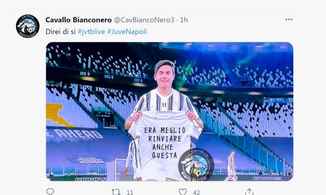Napoli ko, tifosi Juve euforici sui social: è festa per Dybala MAXI GALLERY