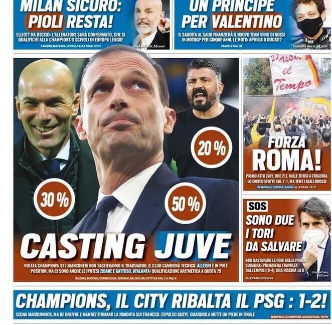 'Casting Juve in panchina', 'Paratici, addio più vicino': le prime pagine dei giornali
