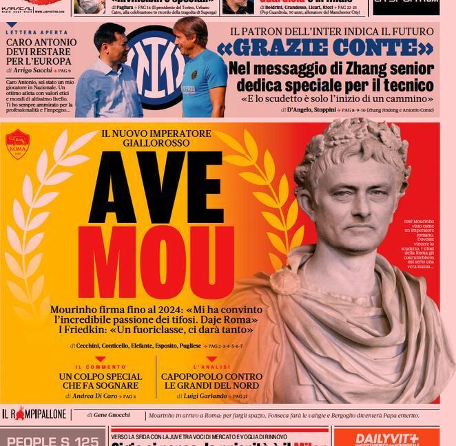 'Daje Mou', 'Marotta sveglia la Juve': le prime pagine dei giornali