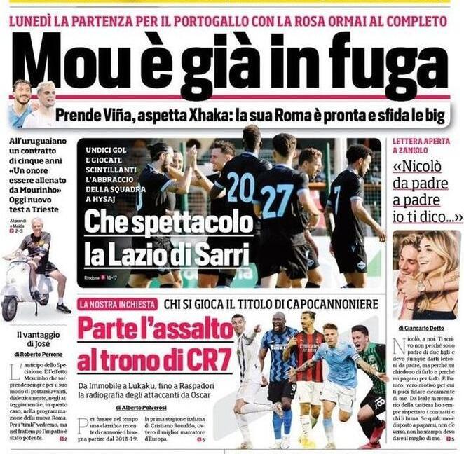 'Parte l'assalto al trono di CR7', 'Chiesa batte Ronaldo': le prime pagine dei giornali