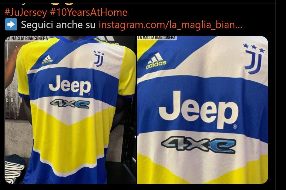 Juve, ecco la FOTO della terza maglia: giallo e blu, riferimento alla città