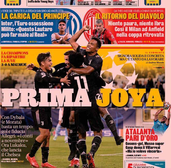 'Finalmente, questa è Juve!', 'Prima Joya': le prime pagine dei giornali